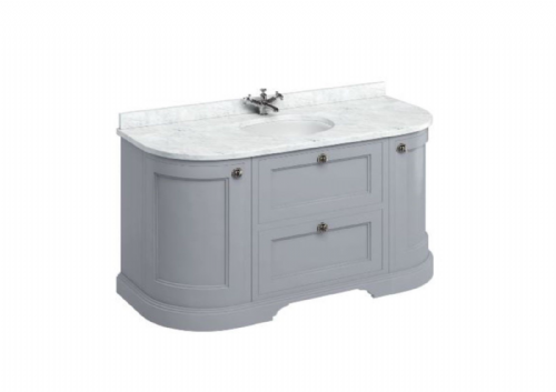 Burlington Freestanding Classic Grey 134 Curved Vanity Unit With Drawers, Doors - Various Colours